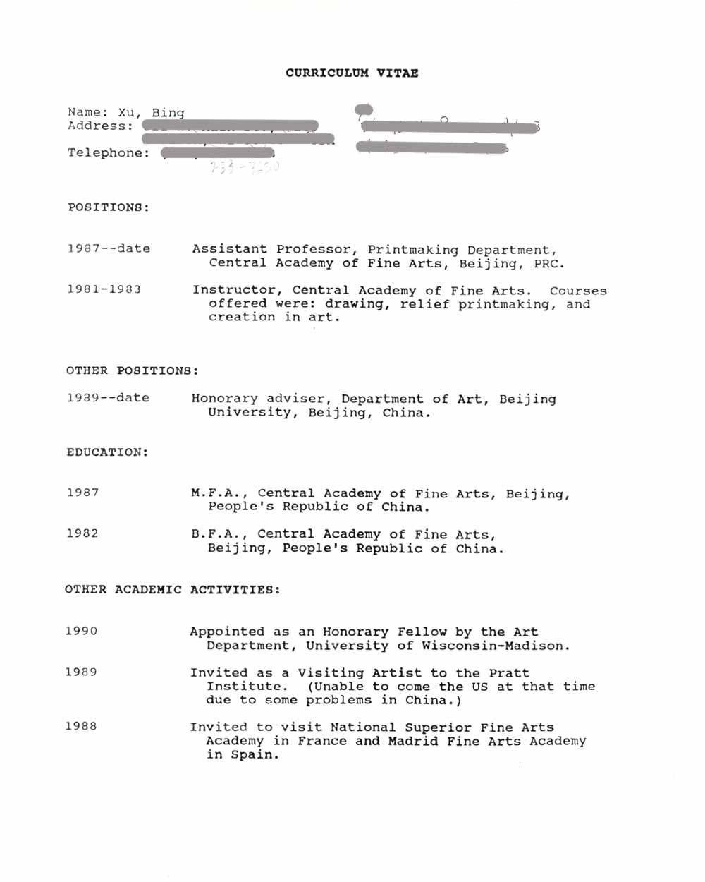 Bing Xu's Resume, pg 1